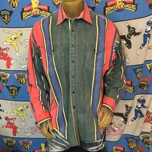 Vintage Faded Panhandle Slim Western Button Up XL